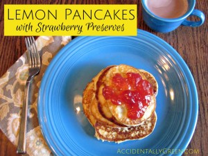 Serve a delicious springtime breakfast with homemade lemon pancakes and strawberry preserves!